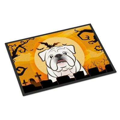 Halloween English Bulldog Doormat Rug Size: 2 x 3, Color: White