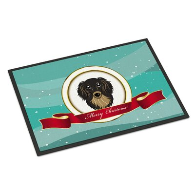 Longhair Dachshund Merry Christmas Doormat Mat Size: Rectangle 2 x 3, Color: Black/Tan