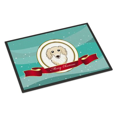 Longhair Dachshund Merry Christmas Doormat Mat Size: Rectangle 16 x 23, Color: Cream
