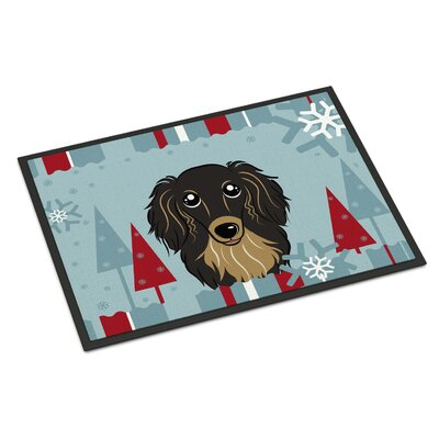 Winter Holiday Longhair Dachshund Doormat Rug Size: 2 x 3, Color: Black/Tan