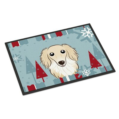 Winter Holiday Longhair Dachshund Doormat Rug Size: 2 x 3, Color: Cream
