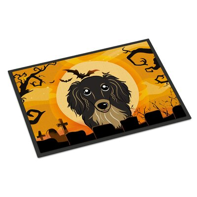 Halloween Longhair Dachshund Doormat Rug Size: 2 x 3, Color: Black/Tan