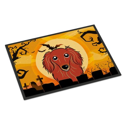 Halloween Longhair Dachshund Doormat Rug Size: 2 x 3, Color: Red
