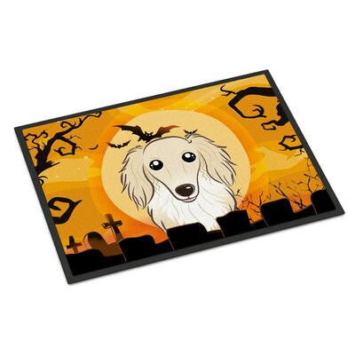 Halloween Longhair Dachshund Doormat Rug Size: 16 x 23, Color: Cream