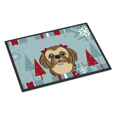 Winter Holiday Shih Tzu Doormat Color: Chocolate Brown, Rug Size: 16 x 23
