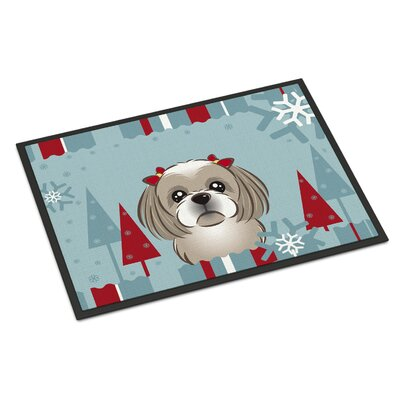 Winter Holiday Shih Tzu Doormat Mat Size: 16 x 23, Color: Gray Silver