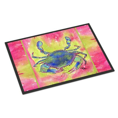 Bright Pink and Crab Doormat Mat Size: Rectangle 2 x 3