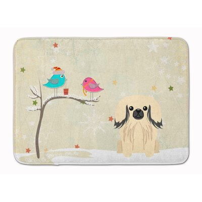 Christmas Presents Pekingese Memory Foam Bath Rug Color: Cream