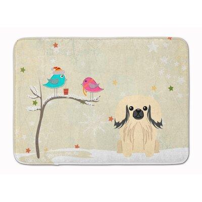 Christmas Presents Pekingese Memory Foam Bath Rug Color: Cream