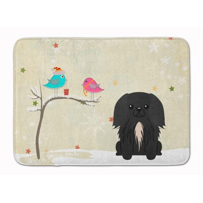 Christmas Presents Pekingese Memory Foam Bath Rug Color: Black