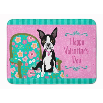Happy Valentines Day Boston Terrier Memory Foam Bath Rug