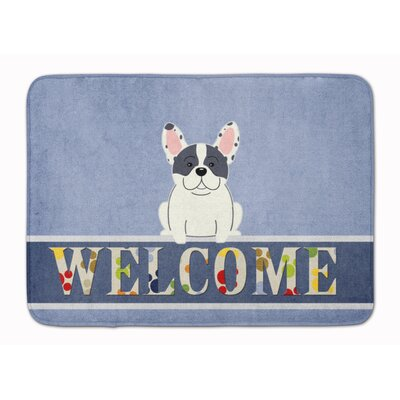 French Bulldog Piebald Welcome Memory Foam Bath Rug