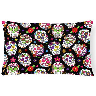 Day of the Dead Lumbar Pillow Pillow Cover Color: Black