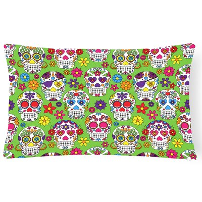 Day of the Dead Lumbar Pillow Pillow Cover Color: Green