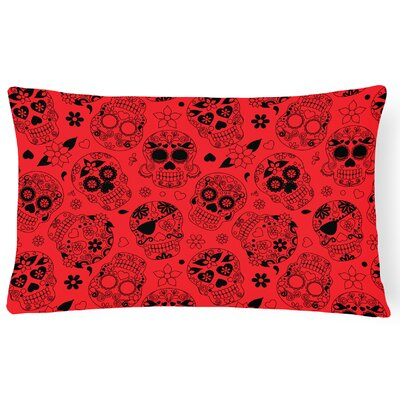 Day of the Dead Lumbar Pillow Pillow Cover Color: Red