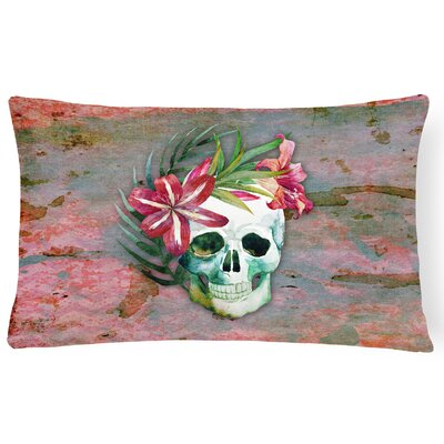 Day of the Dead Skull Flowers Lumbar Pillow