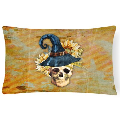 Day of the Dead Witch Skull Lumbar Pillow