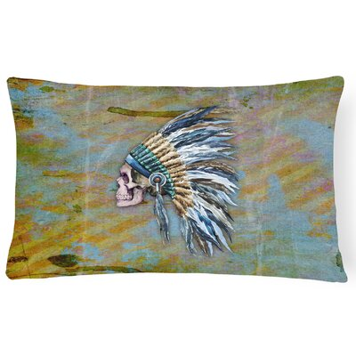 Day of the Dead Indian Chief Skull Lumbar Pillow