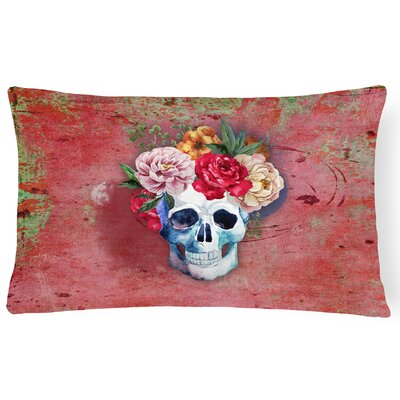 Day of the Dead Flowers Skull Lumbar Pillow