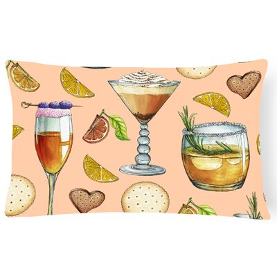 Surry Drinks and Cocktails Lumbar Pillow Pillow Cover Color: Peach