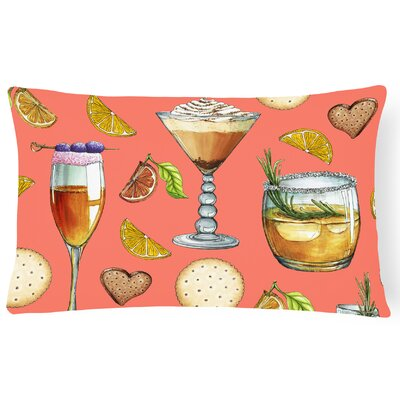 Surry Drinks and Cocktails Lumbar Pillow Pillow Cover Color: Salmon