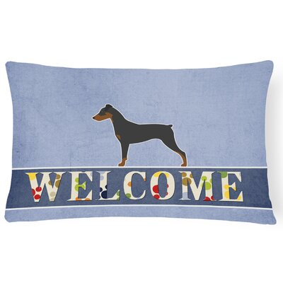 Hugh German Pinscher Welcome Lumbar Pillow