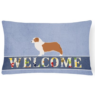 Duffey Australian Shepherd Dog Welcome Lumbar Pillow