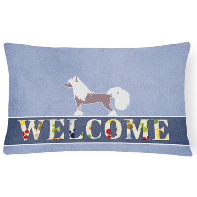 Duquette Chinese Crested Welcome Lumbar Pillow
