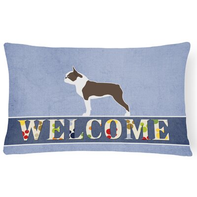 Durgan Boston Terrier Welcome Lumbar Pillow