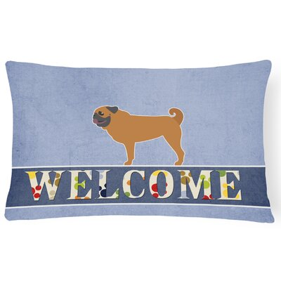 Eagan Pug Welcome Lumbar Pillow