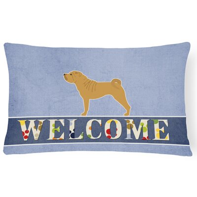 Earnshaw Shar Pei Merry Welcome Lumbar Pillow