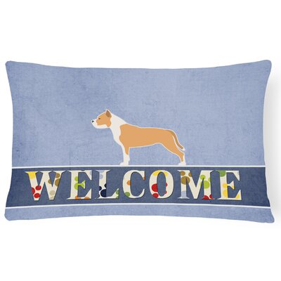 Echevarria Staffordshire Bull Terrier Welcome Lumbar Pillow