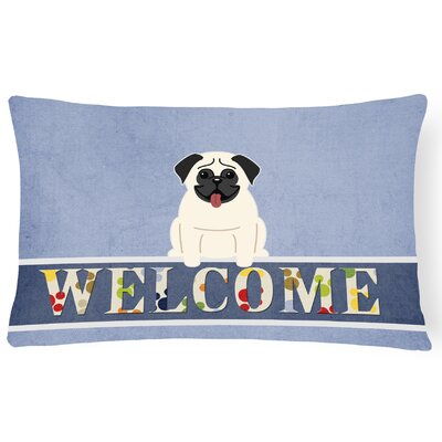 Dauberville Pug Welcome Lumbar Pillow Pillow Cover Color: Cream