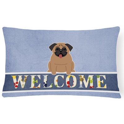Dauberville Pug Welcome Lumbar Pillow Pillow Cover Color: Dark Brown