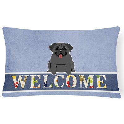 Dauberville Pug Welcome Lumbar Pillow Pillow Cover Color: Black