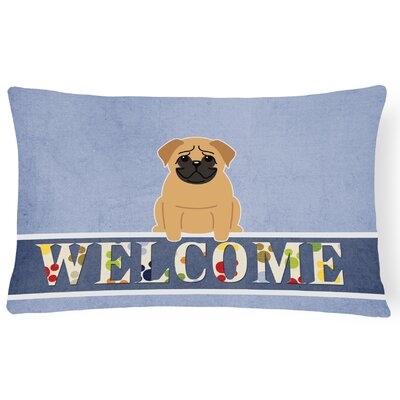 Dauberville Pug Welcome Lumbar Pillow Pillow Cover Color: Brown