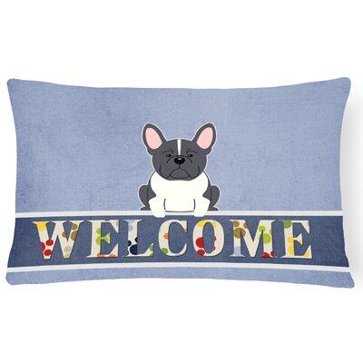 Hartland French Bulldog Welcome Lumbar Pillow Pillow Cover Color: Black/White