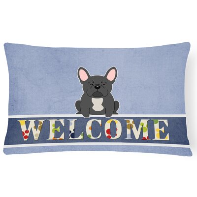 Hartland French Bulldog Welcome Lumbar Pillow Pillow Cover Color: Black
