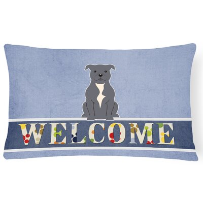 Henninger Staffordshire Bull Terrier Welcome Lumbar Pillow Pillow Cover Color: Silver