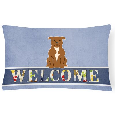 Henninger Staffordshire Bull Terrier Welcome Lumbar Pillow Pillow Cover Color: Brown