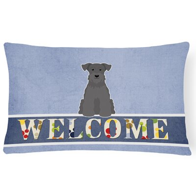 Kotter Miniature Schanuzer Welcome Lumbar Pillow Pillow Cover Color: Black