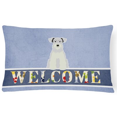 Kotter Miniature Schanuzer Welcome Lumbar Pillow Pillow Cover Color: White