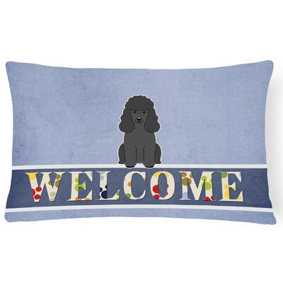 Lakemoor Poodle Welcome Lumbar Pillow Pillow Cover Color: Black