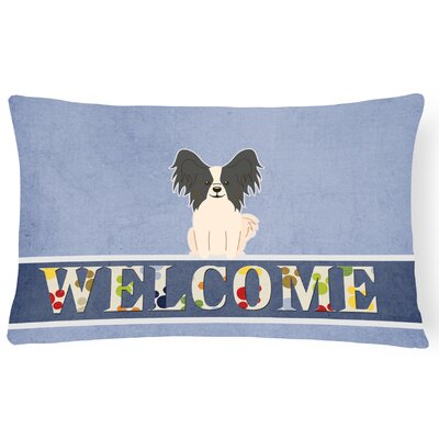 Raubsville Papillon Welcome Lumbar Pillow Pillow Cover Color: Black/White