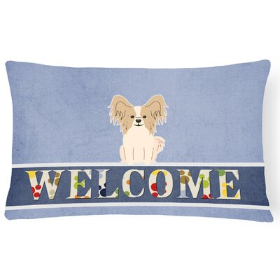 Raubsville Papillon Welcome Lumbar Pillow Pillow Cover Color: White