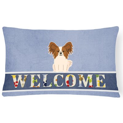 Raubsville Papillon Welcome Lumbar Pillow Pillow Cover Color: Brown/White