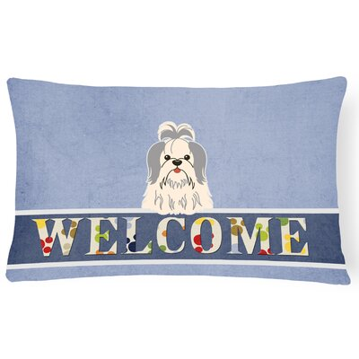Rennerdale Shih Tzu Welcome Lumbar Pillow Pillow Cover Color: Silver/White