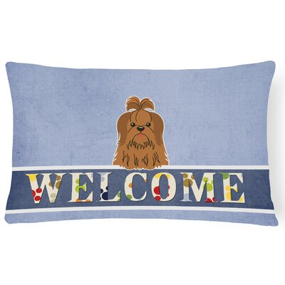 Rennerdale Shih Tzu Welcome Lumbar Pillow Pillow Cover Color: Brown