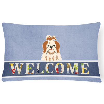 Rennerdale Shih Tzu Welcome Lumbar Pillow Pillow Cover Color: Brown/White
