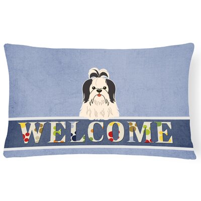 Rennerdale Shih Tzu Welcome Lumbar Pillow Pillow Cover Color: Black/White